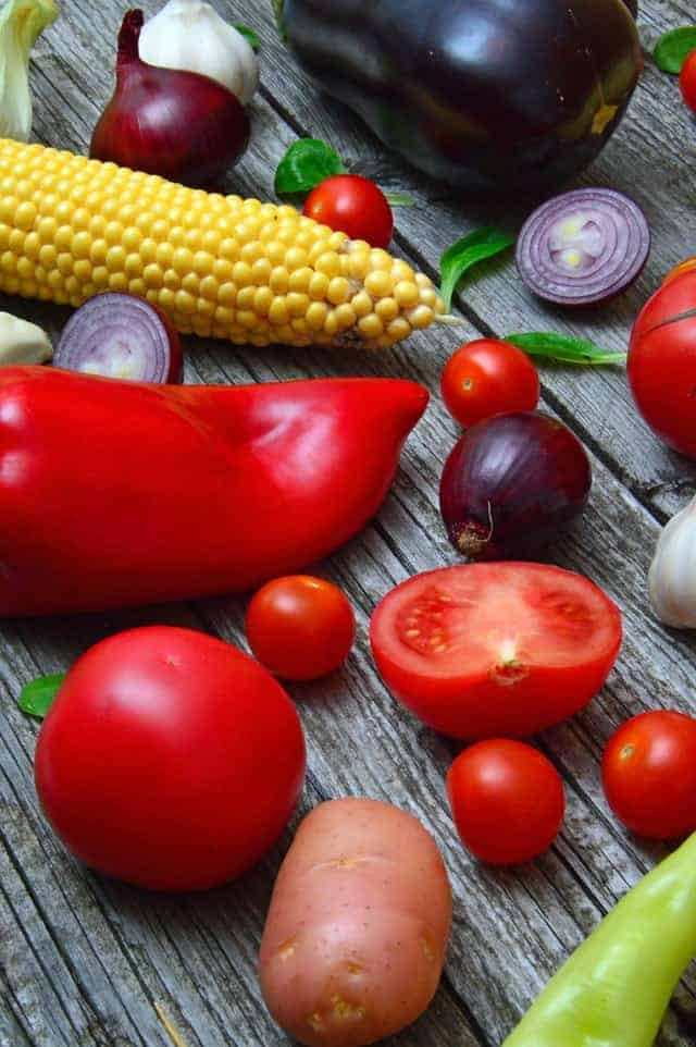 pepe, pomodori, mais
