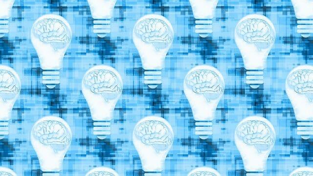 grafica che mostra il cervello in una lampadina