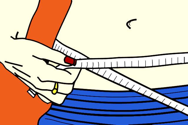 rysunek szczupłej kobiety mierzącej talię centymetrem