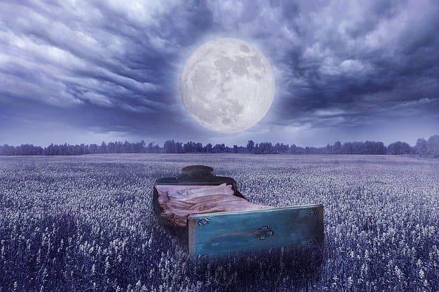 sogno realtà - un letto in un prato, la luna piena