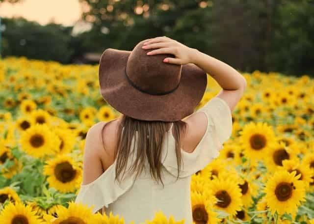una donna cammina in un campo di girasoli